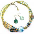 Multi Glass And Seedbead  17 Inch NECKLACE SET