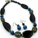Black Stone 18 Inch Necklace Set With Earrings