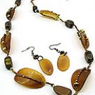 Tan Natural Stone 30 Inch Necklace Set With Earrings