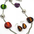 Color Mix 30 Inch Necklace Set With Earrings
