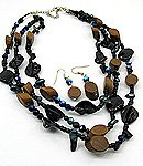 Brown Wood  20 Inch Necklace Set With Earrings