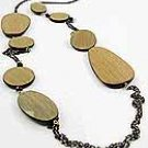 Oval Wood  38 Inch Necklace Set With Earrings