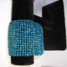 Metalic Blue Bead Wide Stretch Bracelet