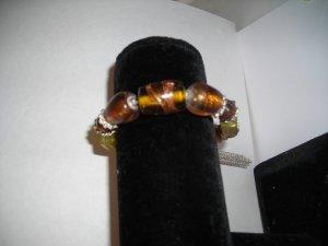 Tan  Glass Bead Stretch Bracelet