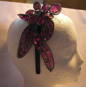 Pink Flower Applique Satin Headband