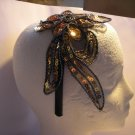 Gold Flower Applique Satin Headband