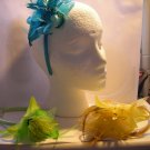 Yellow Satin Headband Matching Flower With Feathers Dots