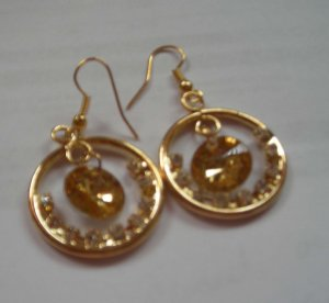 Gold Color Round Dangle CZ  EARRINGS