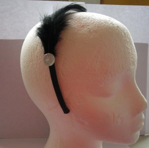 Black Feather With Clear Stone Satin Headband