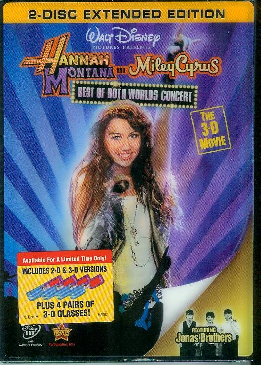 HANNAH MONTANA & MILEY CYRUS BEST OF BOTH WORLDS TOUR 3-D MOVIE 2-DISC (2008) (NEW)