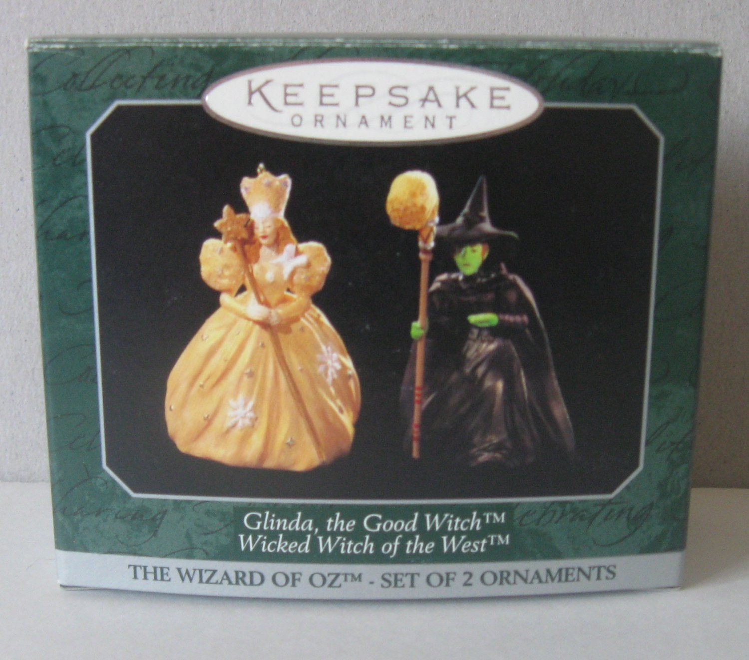 1997 Ornament Wizard of Oz Glinda the Good Witch & Wicked Witch of the West Set of 2.