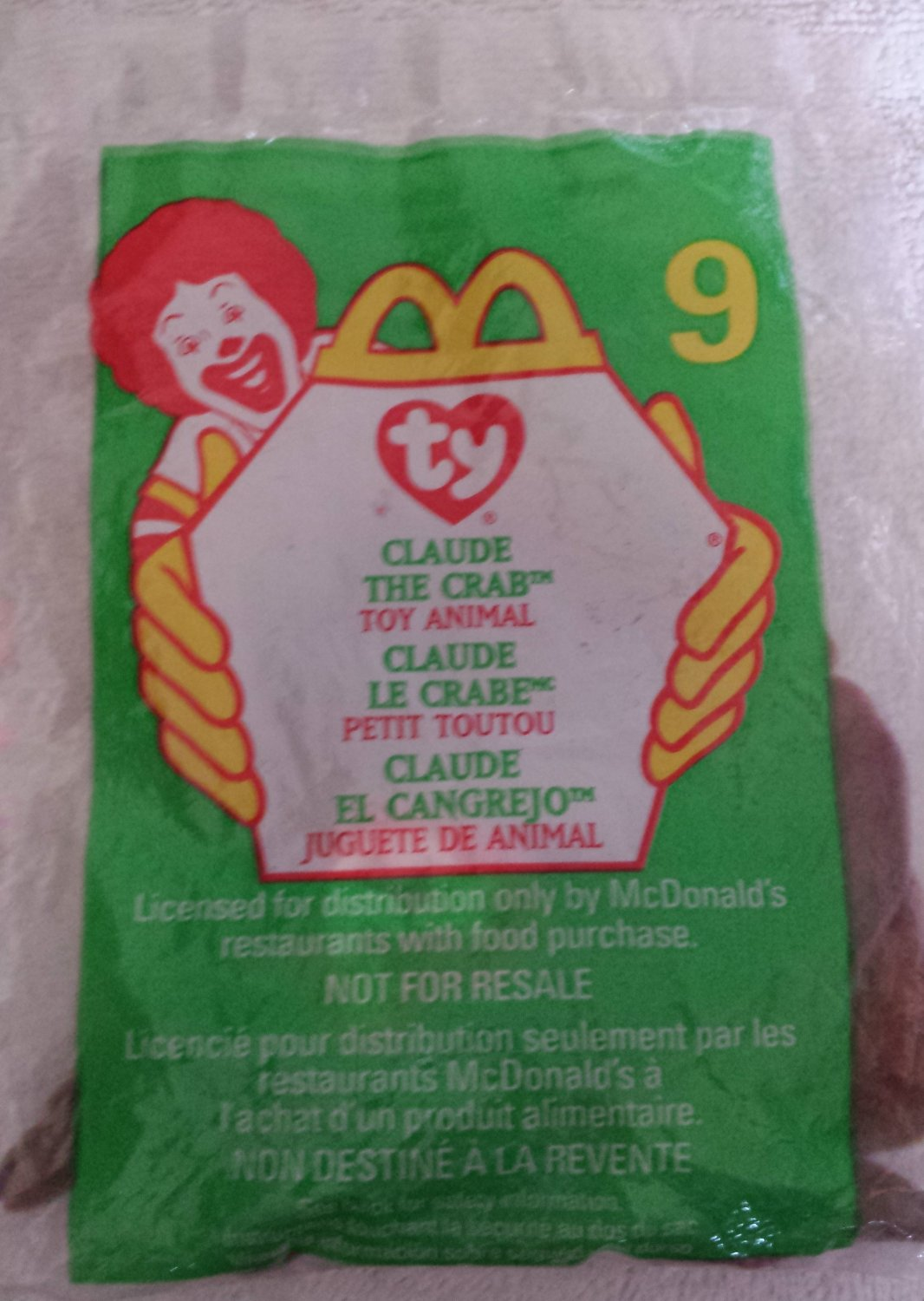 McDonald's Happy Meal Toy Ty Teenie Beanie Baby Claude the Crab #9