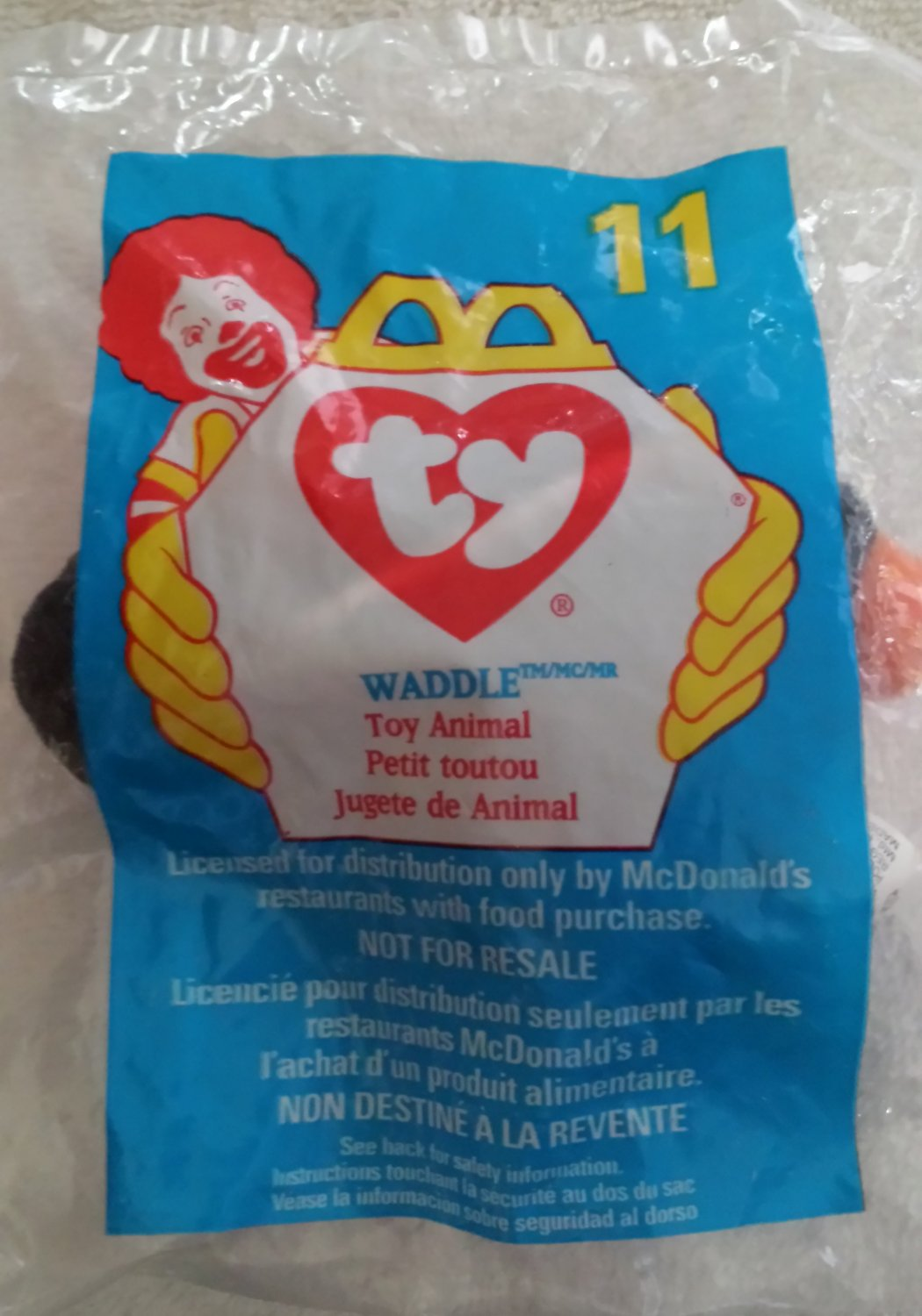 McDonald's Happy Meal Toy Ty Teenie Beanie Baby Waddle the Penquin #11
