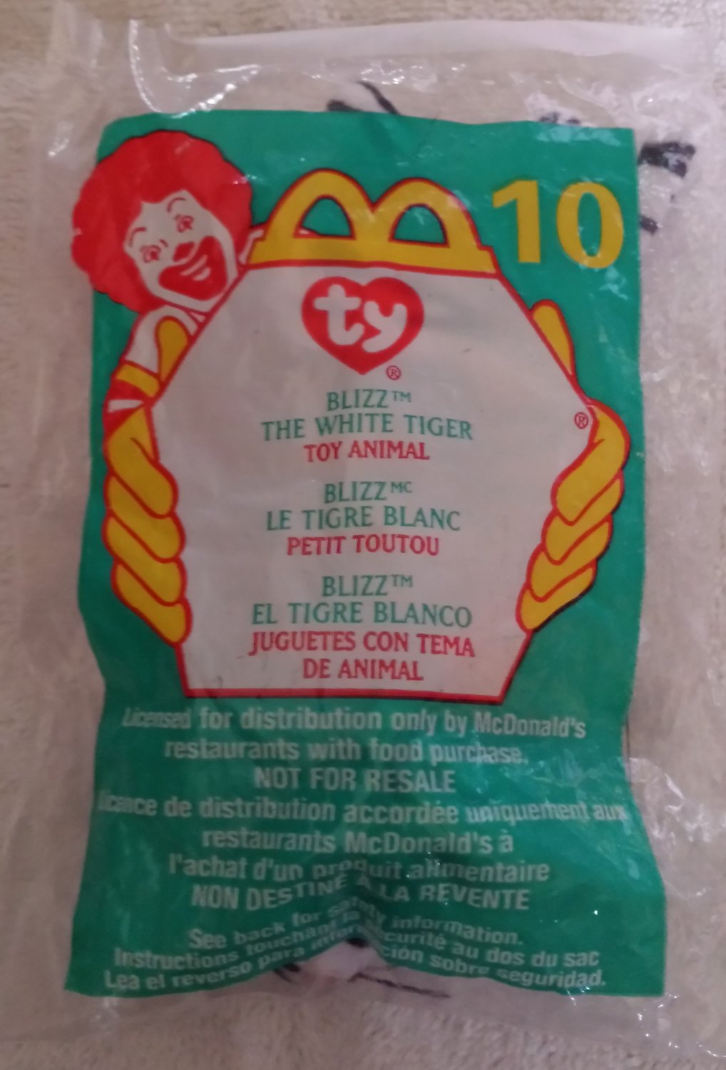 McDonald's Happy Meal Toy Ty Teenie Beanie Baby Blizz the White Tiger #10