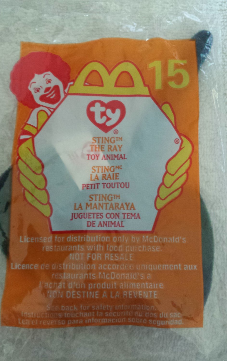 McDonald's Happy Meal Toy Ty Teenie Beanie Baby Sting the Ray #15