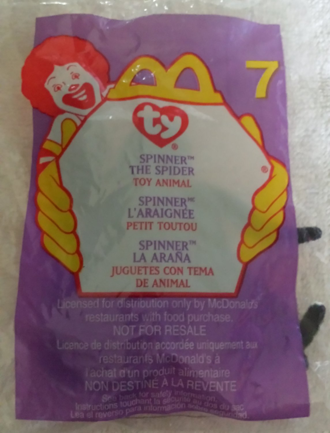 McDonald's Happy Meal Toy Ty Teenie Beanie Baby Spinner the Spider #7