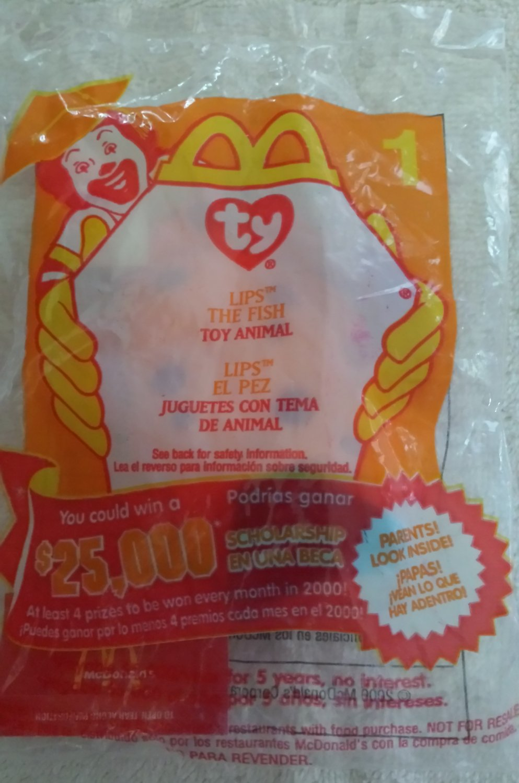McDonald's Happy Meal Toy Ty Teenie Beanie Baby Lips the Fish #1