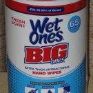 (1) Container Of 65 Wet Ones Big Ones Antibacterial Hand Wipes Kills 99.99% Of Germs