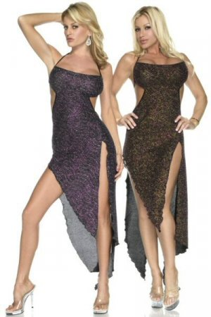 Long Halter Dress with Front and Side Slits and Cutout Design