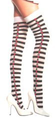 Opaque Thigh High Stockings with Printed Card Suit Design