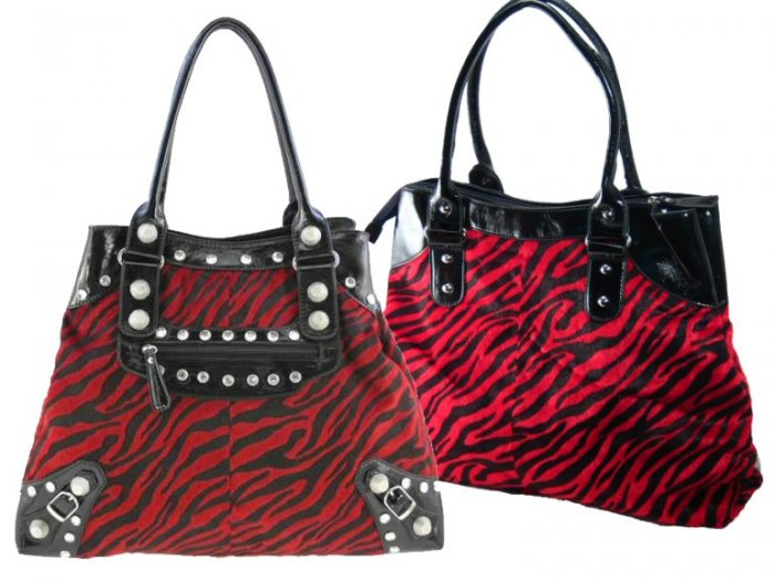 Animal Fur Design Handbags with Acrylic Stone and Buckle Accents