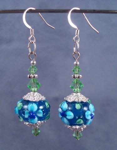 Flower Lampwork  and Swarovski Earrings
