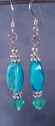 Teal glass earrings