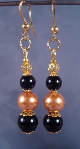 Formal Gold and Black Earrings