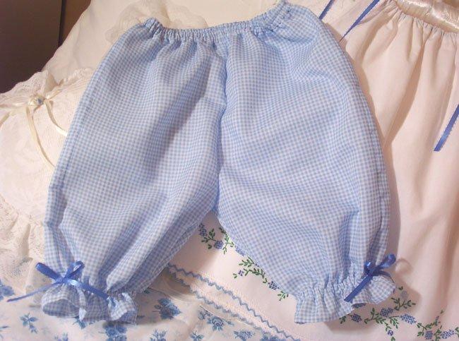 Blue Gingham Pantaloons - Pants - 6M - 4T - Infant - Toddler - Little Girl - Baby - Custom Order