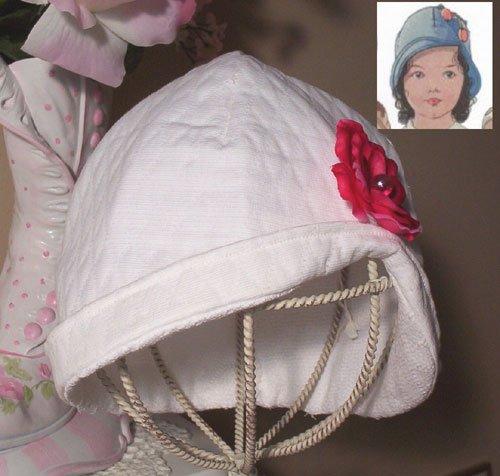 Flapper Style Little Girls Hat - White - Cloche Hat