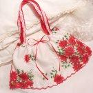 Christmas Vintage Pointsetta Hankie Purse - Handbag - Little Girl - Mother - Gift