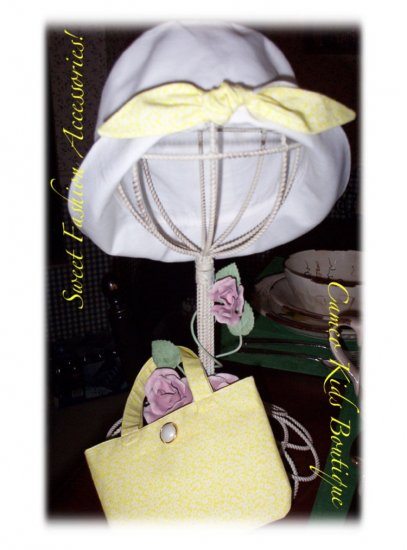 Yellow Floral Hat and Purse - Little Girls - Toddler Girls