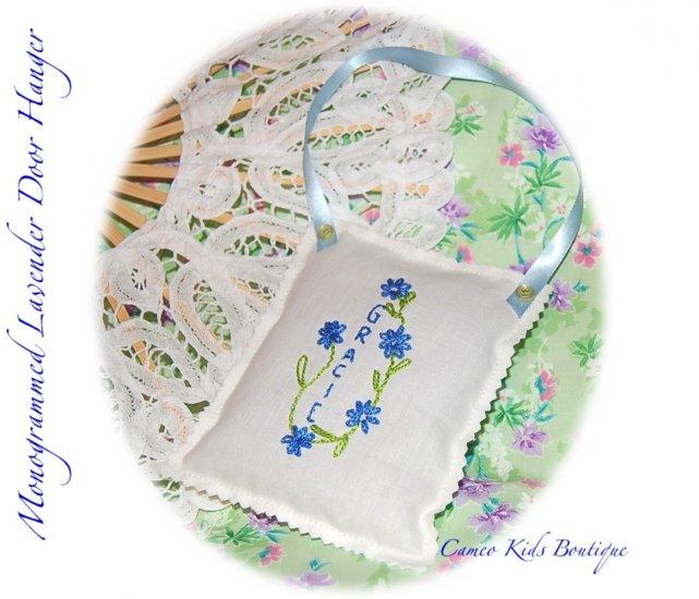 Lavender Sachets - Hand Embroidered - Personalized - Door Hanger - Sachet