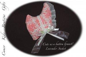 Lavender Sachet - Vintage Style Bonnet - Lavender Sachets - Unique Gift Idea - Vintage Feedsack