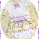 Vintage Hanky Baby Skirted Onesie - Butterflies -  Vintage Inspired Altered Couture