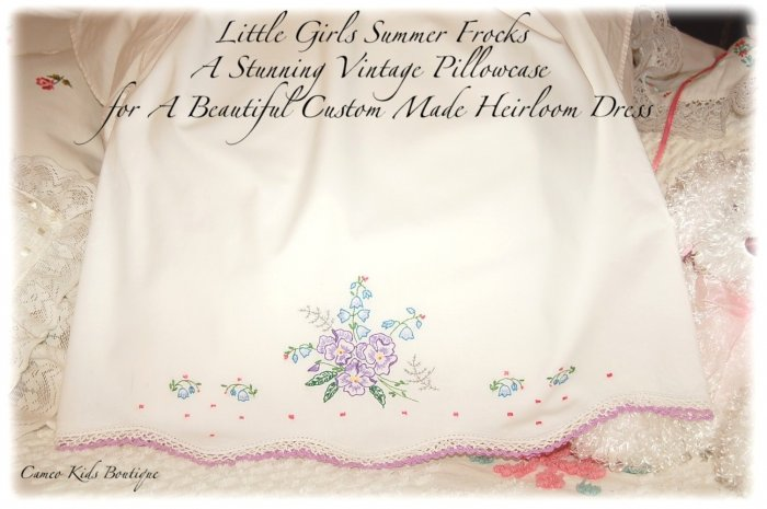Sylvie - Vintage Pillowcase Dress - Little Girls Party Dress - Heirloom Dress