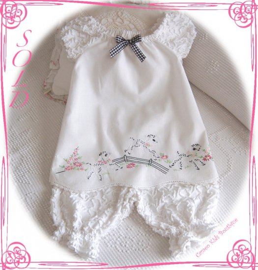 Cameo Kids Boutique - Peasant Style Pillowcase Dress and Chenille Pantaloons - Lambs