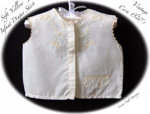 Vintage Clothing - Infant Diaper Shirt - Handmade - Hand Embroidered - Circa 1920