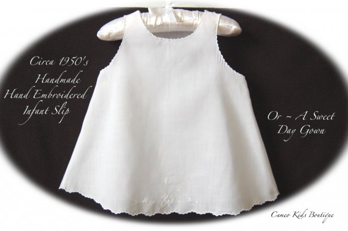 Vintage - White Baby Slip - Handmade - Hand Embroidered - Baby Clothing