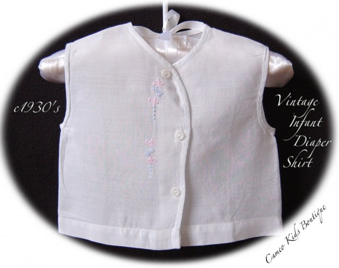 White - Infant Diaper Shirt - Vintage Clothing - Handmade - Hand Embroidered