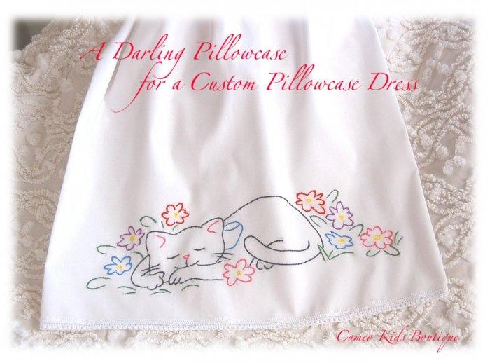 Dora - Pillowcase Dress - Embroidered Kitty  - Boutique Girls Dresses