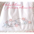Dora - Pillowcase Dress - Embroidered Kitty  - Boutique Girls Dresses