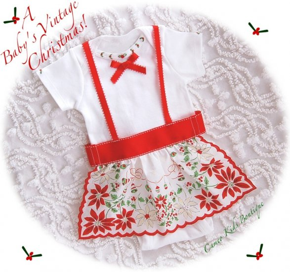 Vintage Baby - Christmas Hankie Apron Onesie - Holiday Baby Altered Couture