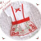 Christmas Hanky Apron Baby Onesie -  Vintage Inspired Baby Couture
