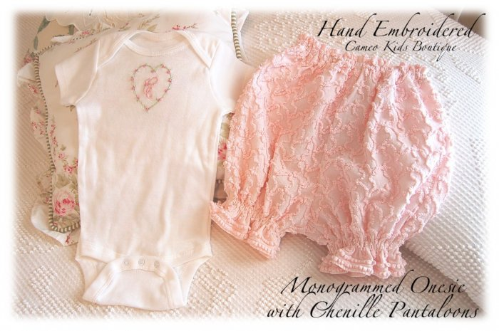 Monogrammed Onesie - Hand Embroidered - Squiggly Pink Chenille Pantaloons - Bloomers