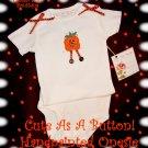 Handpainted Halloween Pumpkin Altered Baby Onesie Couture