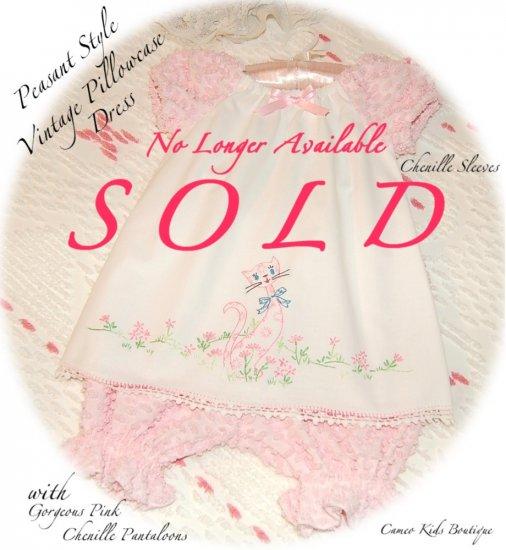 Peasant Style - Vintage Pillowcase Dress - Pink Popcorn Chenille Pantaloons - Pants