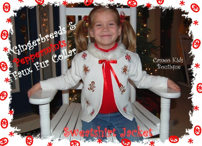 Toddler Christmas Sweatshirt - Holiday Cardigan - Jacket - Gingerbread Man - Peppermints - HP