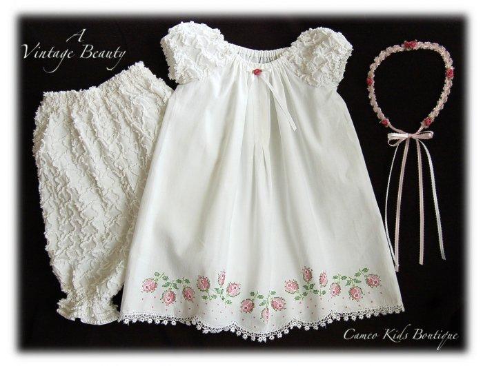 Abriella - Vintage Pillowcase Dress - Cross Stitch - Little Rose Buds -Little Girls Heirloom Dress