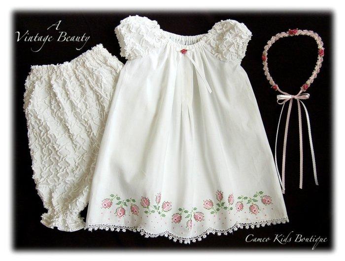 Abriella - Vintage Pillowcase Dress - Little Girls Heirloom Dress
